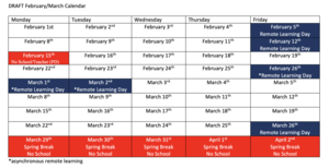Updated February/March Calendar