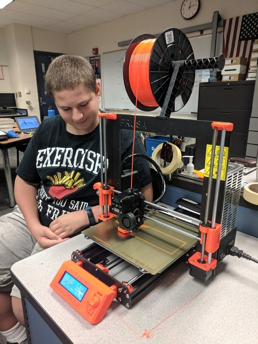 3D printing in CAD class at Hemlock High School.