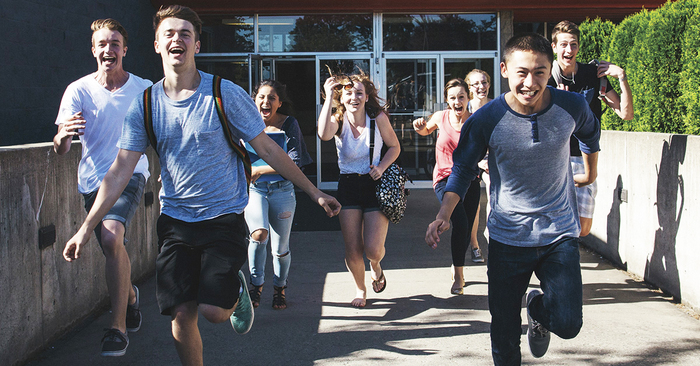 Students running - yearbook