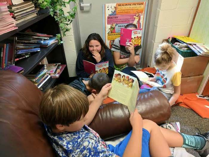 Pictures of students reading in groups